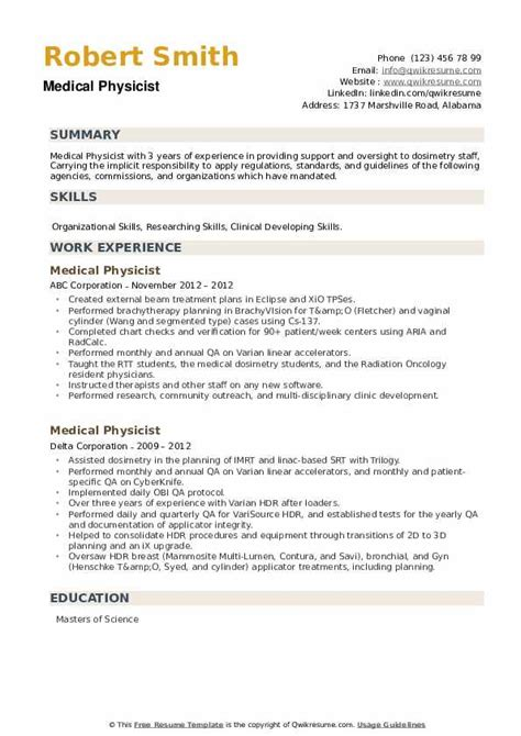 sample resume medical physicist frac consultant resumes