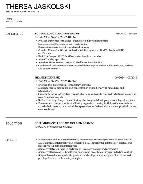 sample resume child care worker child care resume worker daycare - Mental Health Worker Resume