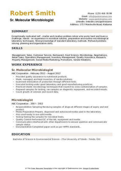 sample resume for microbiology job microbiologist resume samples jobhero - Microbiologist Resume Sample