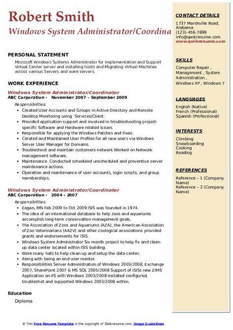 exchange administrator resumes - Exchange Administration Sample Resume