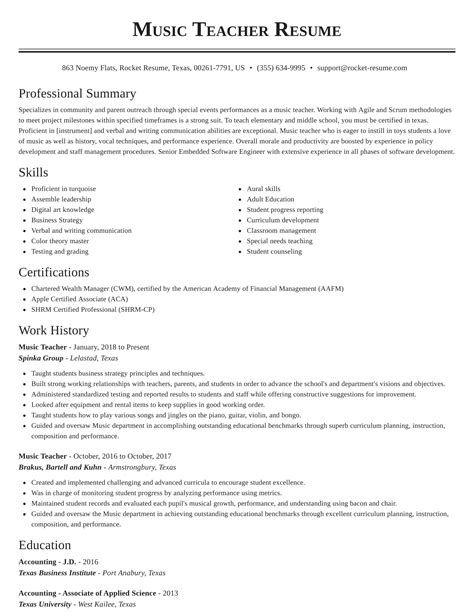 sample resume for career change to teacher music teacher sample resume career faqs - Sample Resume For Career Change