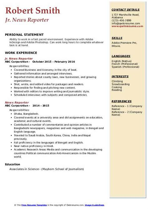 sample resume for reporter job free cover letter examples for