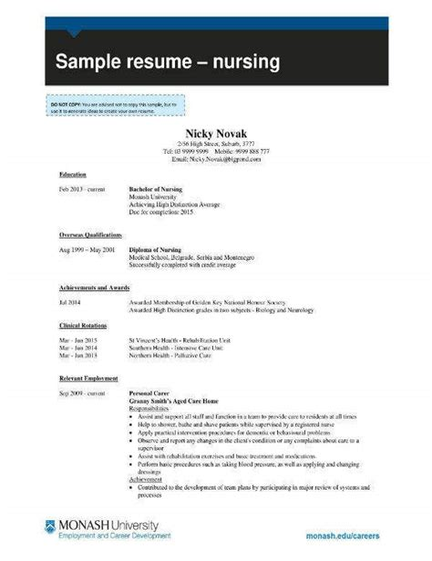Nursing Job Resume Example Resume Templates Word Creative