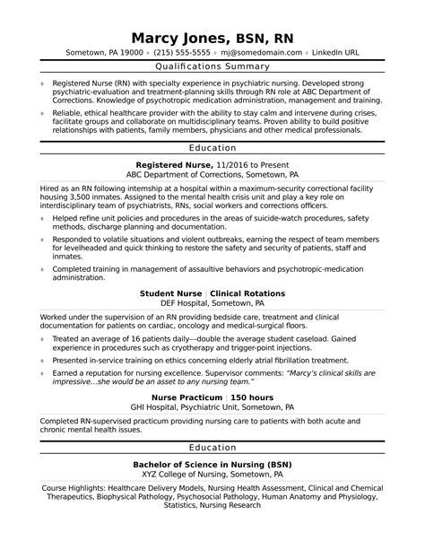 nurse graduate resume