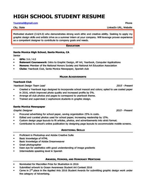 a good resume for high school student sample resume objective statements for hs students - Good Objective Statements For Resume
