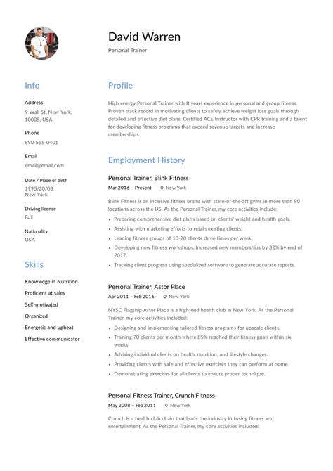 Sample Resume In Sales Lady Personal Trainer Resume Sample My Perfect Resume