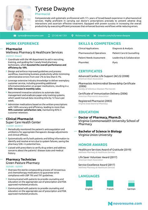 Sample Resume For Experienced Pharmacist Pharmacist Resumes Resume Samples Resume Now