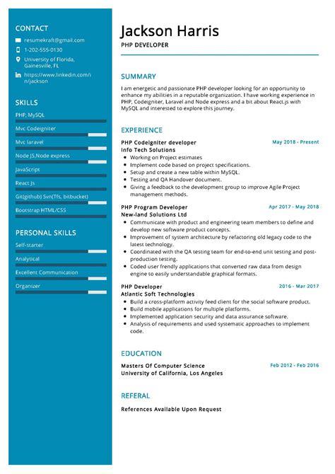 sample resume php developer fresher resume job examples jim