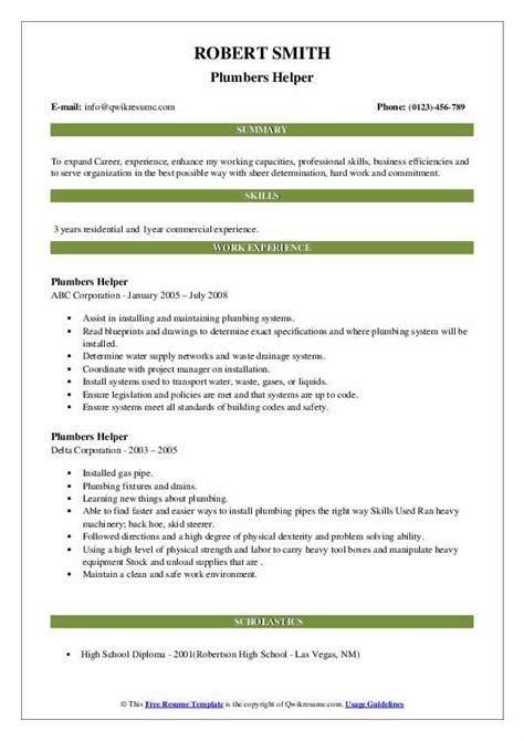 sample resume construction helper plumber helper resume sample - Construction Helper Resume