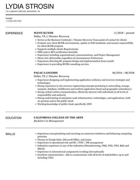 Sample Resume Disaster Management Powerful Disaster Recovery Manager Sample Resume To Get