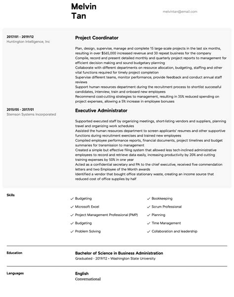Sample Resume Of Construction Project Coordinator Project Coordinator Resume Sample Job Interview Career