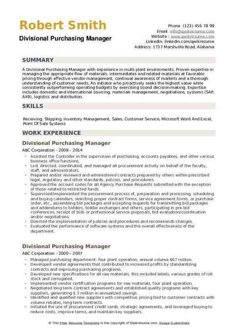 procurement manager resumes - Purchasing Manager Resume