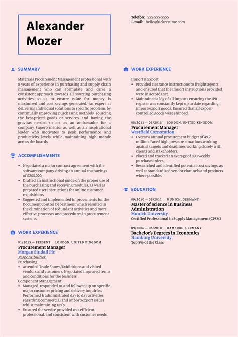 sample resume of purchase manager resume for purchase manager