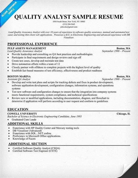 Sample Resume For Call Center Quality Assurance Qc Analyst Cover Letter 82 Images Resume Format Qa