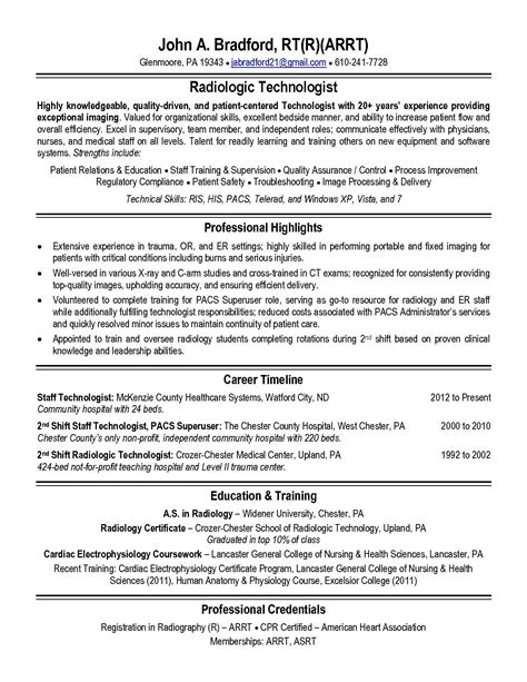 Sample Resume Entry Level Radiologic Technologist Radiologic Technologist Resume Workbloom