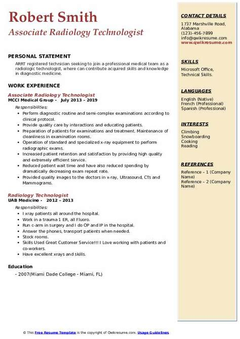 Sample Resume Entry Level Radiologic Technologist Radiology Resume Free Sample Resumes