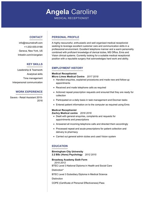 sample resume templates for receptionist receptionist resume template accommodation management cv - Resume Template For Receptionist