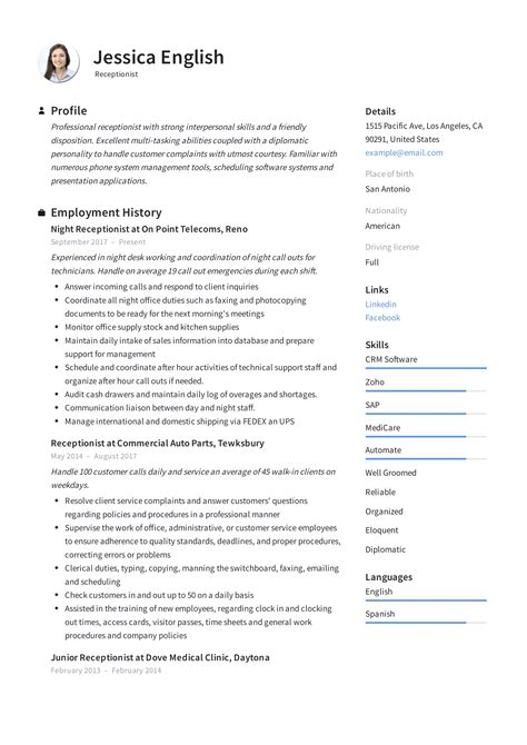 sample resume templates for receptionist receptionist resume best sample resume