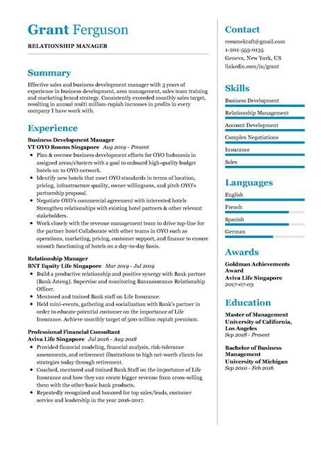 Sample Resume Business Manager Relationship Manager Resume Sample