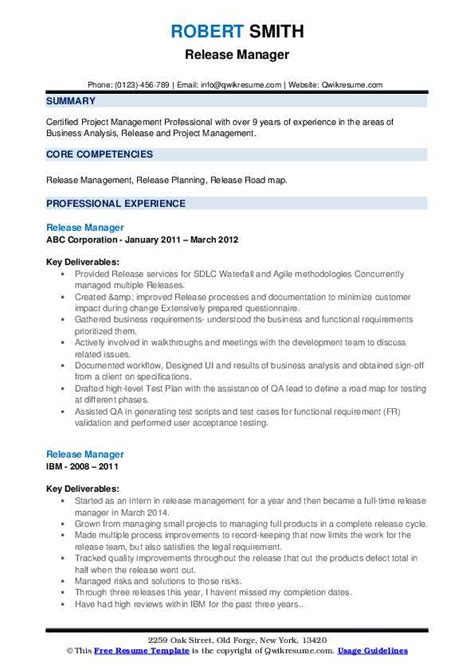 sample resume build release engineer release manager resume samples jobhero