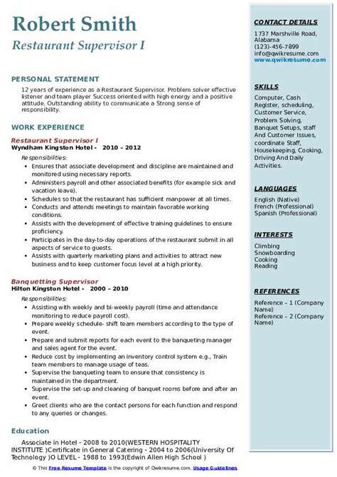 sample resume restaurant server responsibilities restaurant supervisor resume sample - Server Responsibilities Resume