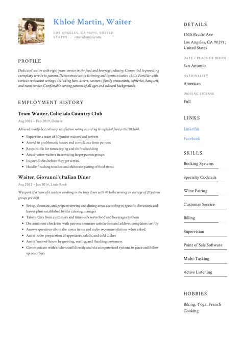 sample resume for waitress restaurant waitress resume samples jobhero