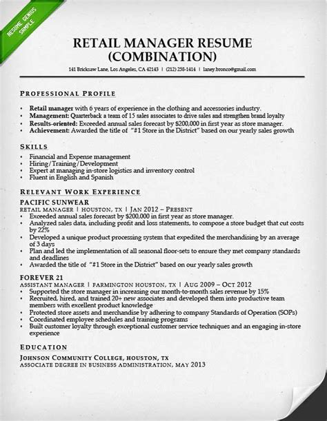 Sample Resume Retail General Manager Retail Manager Resume Sample Job Interview Career Guide