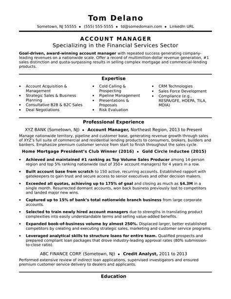 Sample Resume Sales Account Manager Sales Account Manager Resume Example
