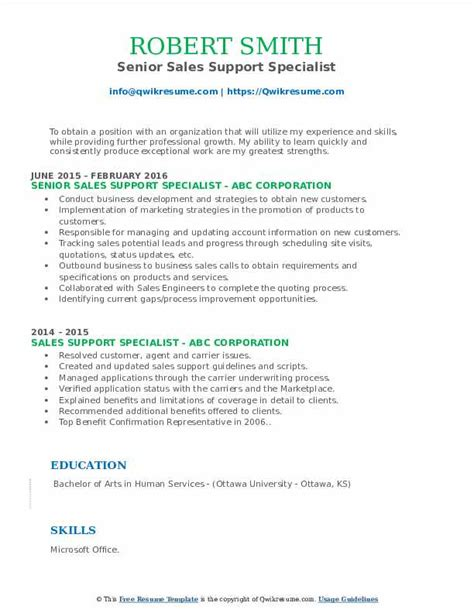 Sample Resume For Sales Support Executive Sales Support Specialist Resume Samples Jobhero