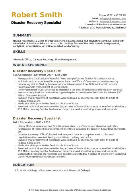 Sample Resume Disaster Management Sample Resume Disaster Recovery Manager Dice Insights