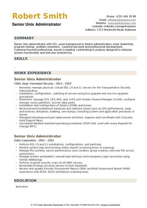 sample resume for unix system administrator sample resume unix system administrator best resume samples - Unix Administration Sample Resume