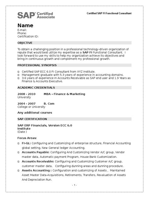 Sample Resume Of Sap Hr Fresher Sap Fi Certification Financial Accounting Sap
