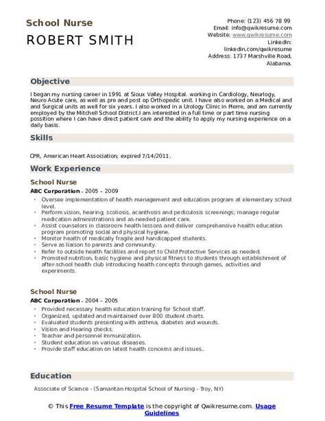 cover letter for school nurse position