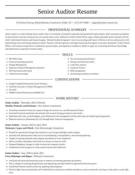 sample resume internal auditor senior auditor resume sample internal auditor resume sample