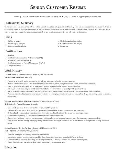 sample resume senior customer service representative senior customer service representative resume example - Customer Service Representative Job Description Resume