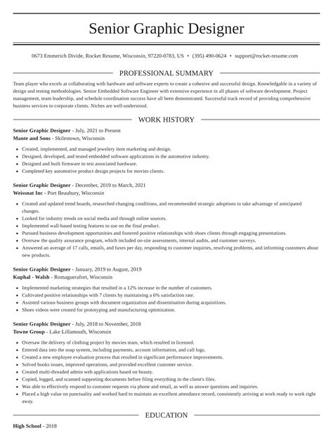 Sample Resume Of Graphic Artist Senior Graphic Designer Resume Samples Jobhero
