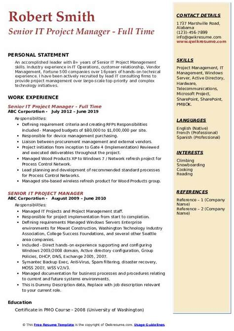 sample resume for mainframe project manager sample resume format