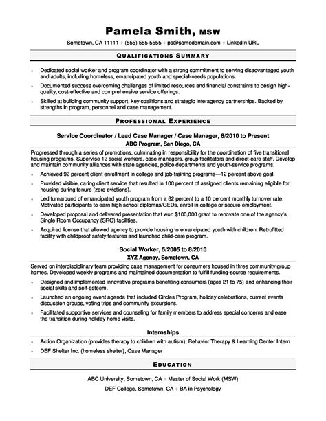 Sample Resume For Youth Worker Social Worker Resume Samples And Tips Sample Resumes