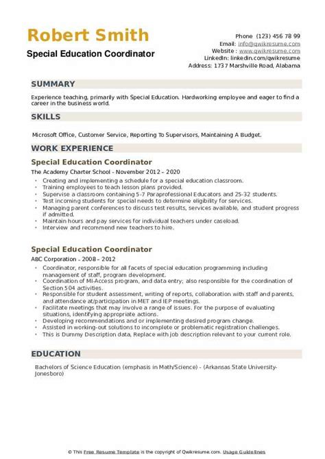 sample resume for a special education coordinator special education coordinator resume samples jobhero - Special Education Resume Samples