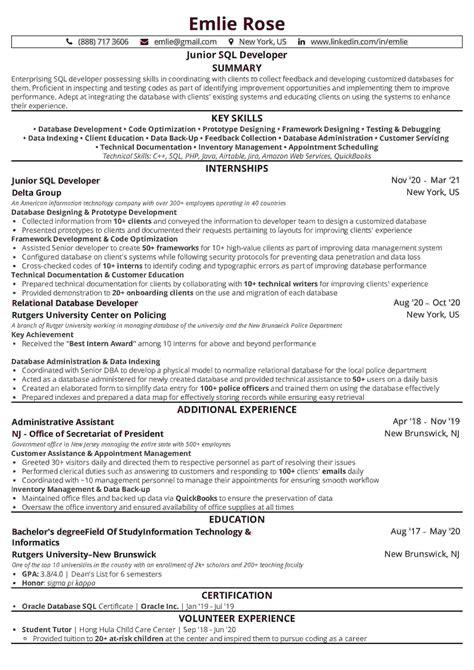 sample resume for entry level database developer sql database developer resume sample resume builder