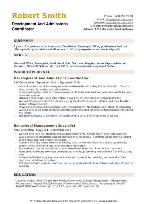 Resume Sample Resume For College Admissions Coordinator sample resume college admissions coordinator interests student my career