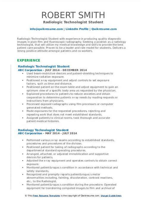 sample resume student radiologic technologist student radiologic technologist resume example jefferson - Sample Resume For Radiologic Technologist