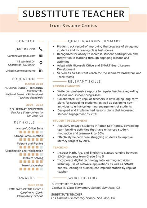 Sample Resume For A School Teacher Substitute Teacher Resume Sample Job Interview Career