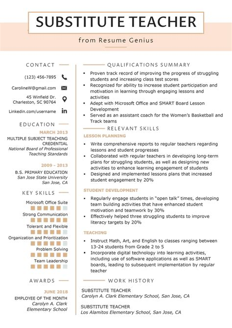 Sample Resume For College Dropout Substitute Teacher Cover Letter Examplesof