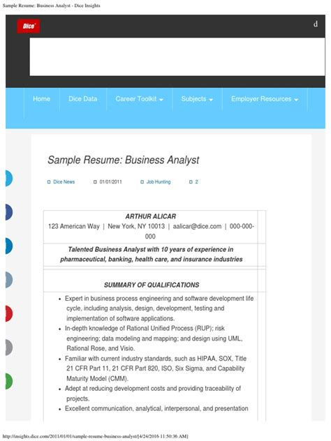 business analyst sample resume dice sample resume systems analyst dice insights