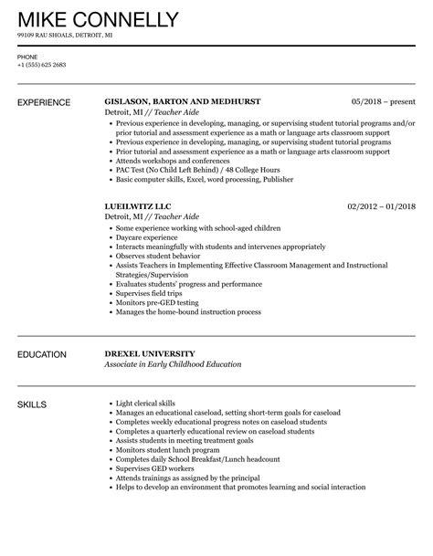 Teacher Assistant Resume Job Description