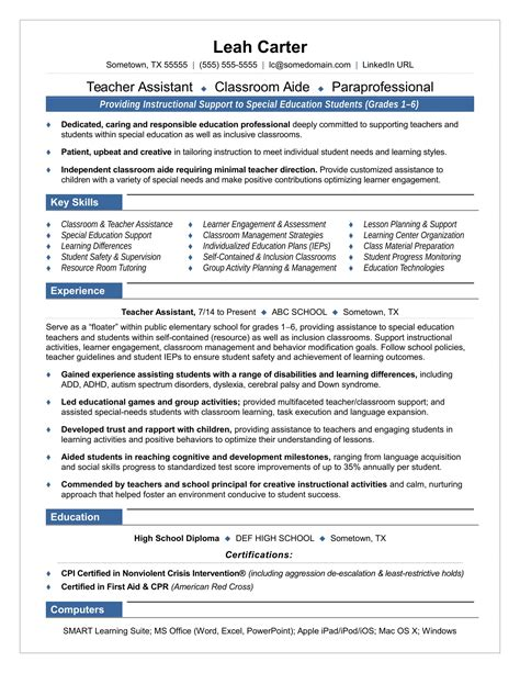 sample resume for teacher assistant with no experience teacher assistant resume sample career enter sample resume for teaching assistant
