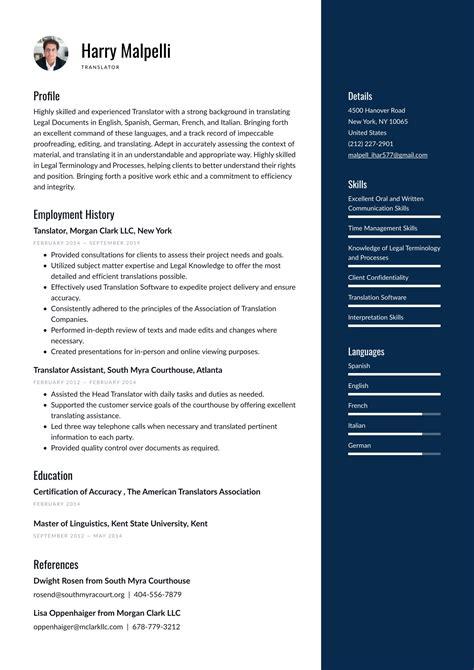 Sample Resume For Translation Translator Resume Sample One Service Resume