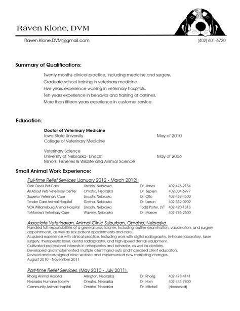 Sample Resume For Veterinary Assistant Veterinary Assistant Resume Sample