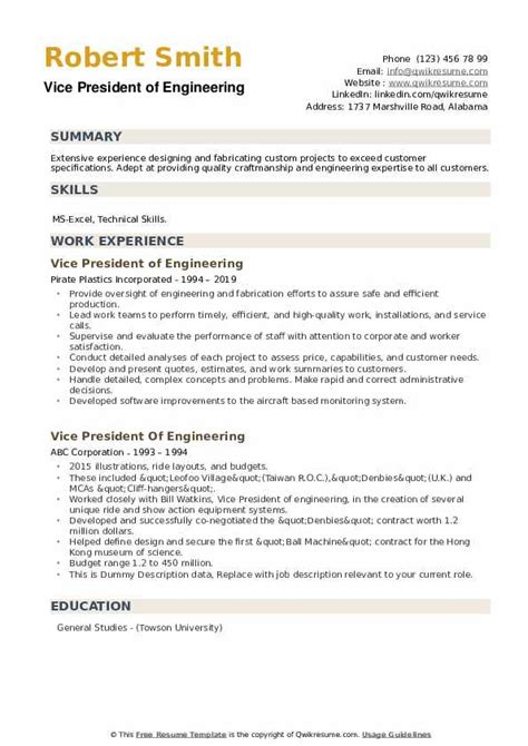 vp of engineering resumes